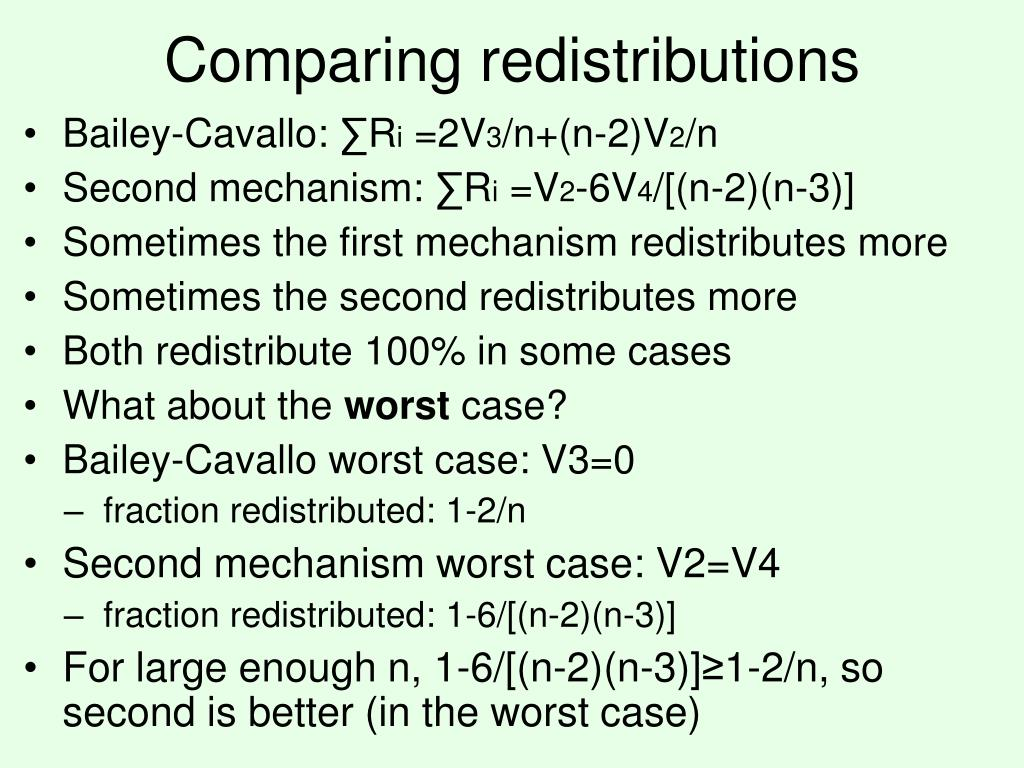 Comparing redistributions