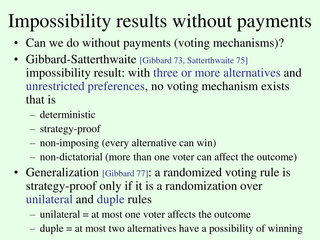 Impossibility results without payments