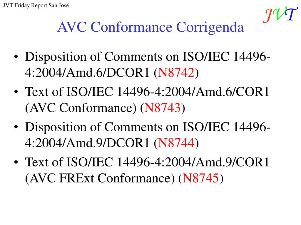 AVC Conformance Corrigenda