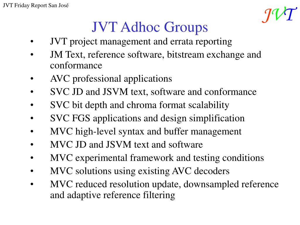 JVT Adhoc Groups
