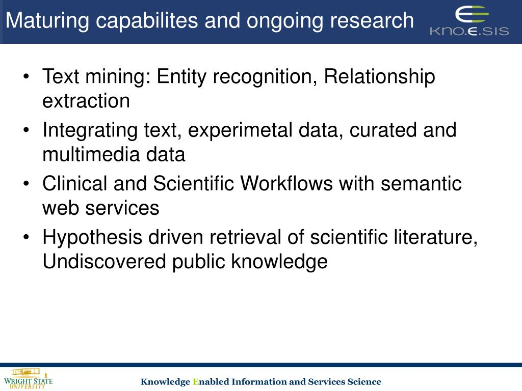 Maturing capabilites and ongoing research