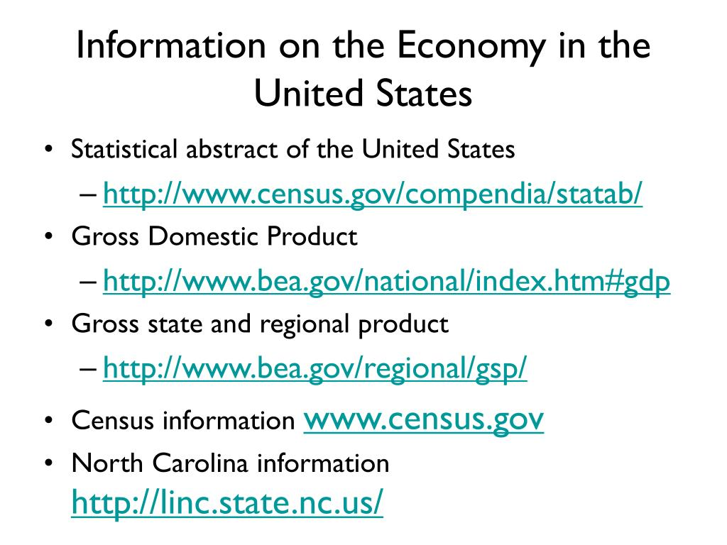 Information on the Economy in the United States