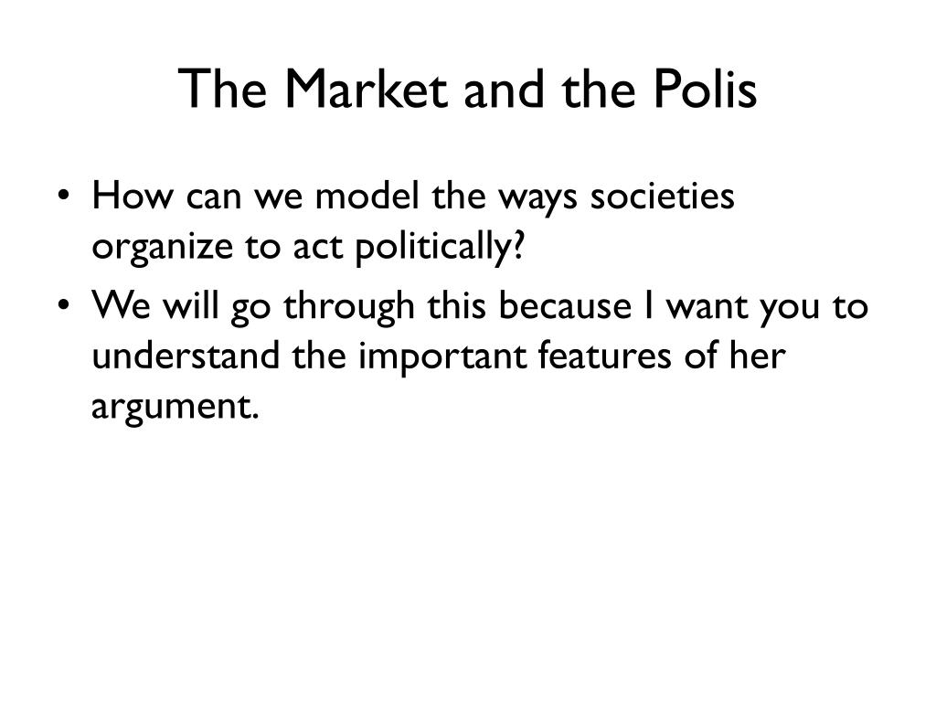 The Market and the Polis