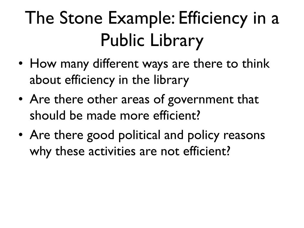 The Stone Example: Efficiency in a Public Library