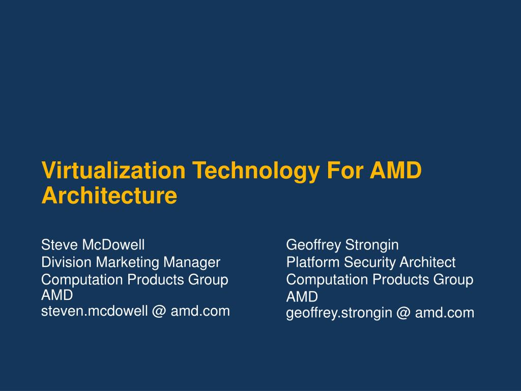 virtualization technology for amd architecture l.
