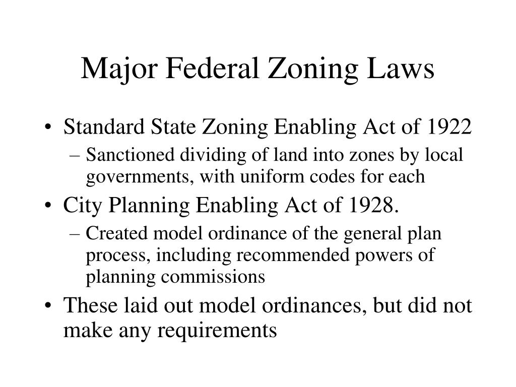 Major Federal Zoning Laws