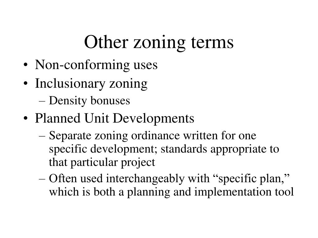 Other zoning terms