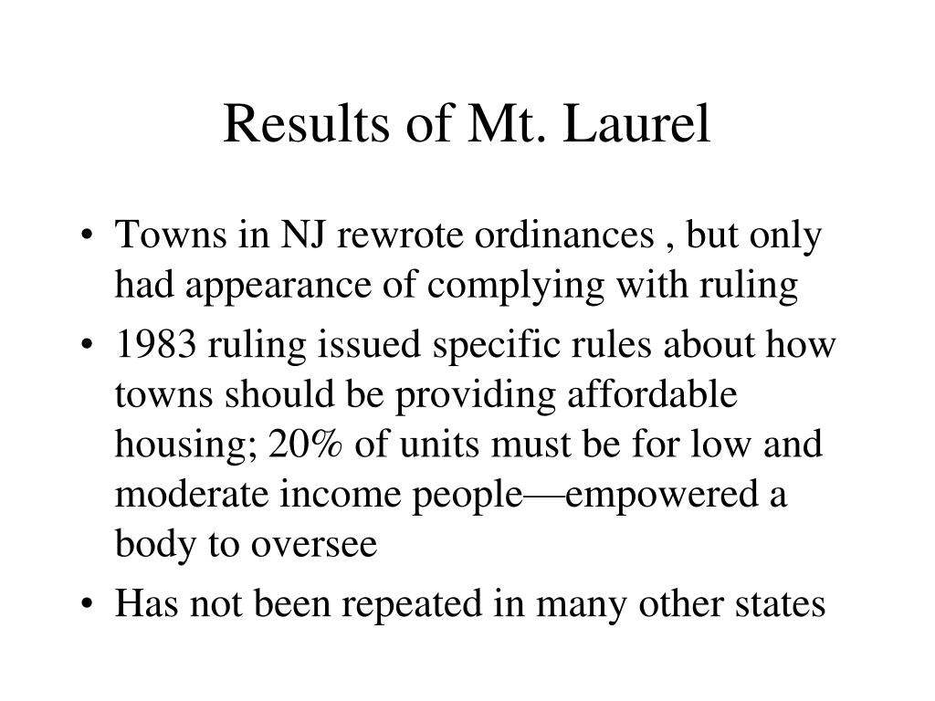 Results of Mt. Laurel