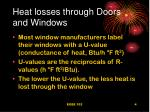 heat losses through doors and windows