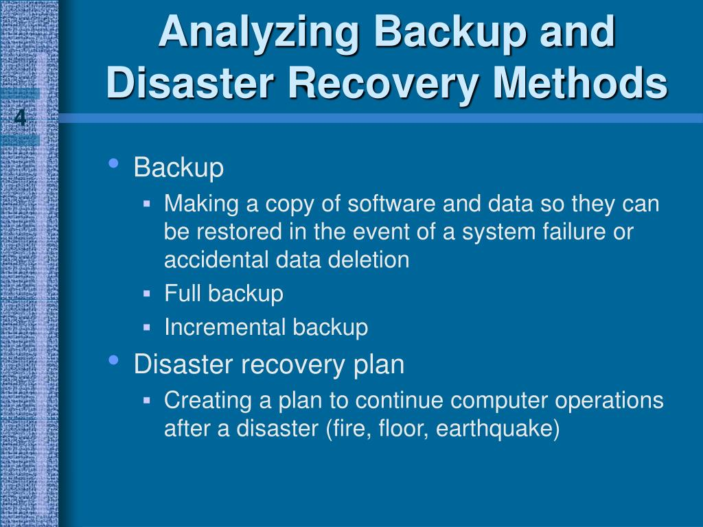 Analyzing Backup and Disaster Recovery Methods