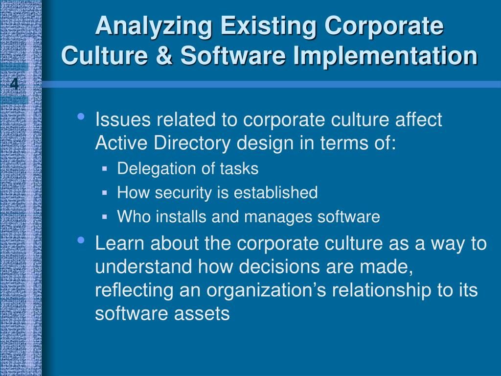 Analyzing Existing Corporate Culture & Software Implementation