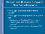 backup and disaster recovery plan considerations
