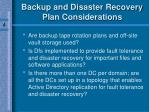 backup and disaster recovery plan considerations70
