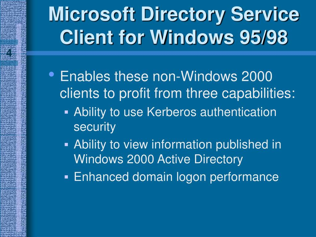 Microsoft Directory Service Client for Windows 95/98