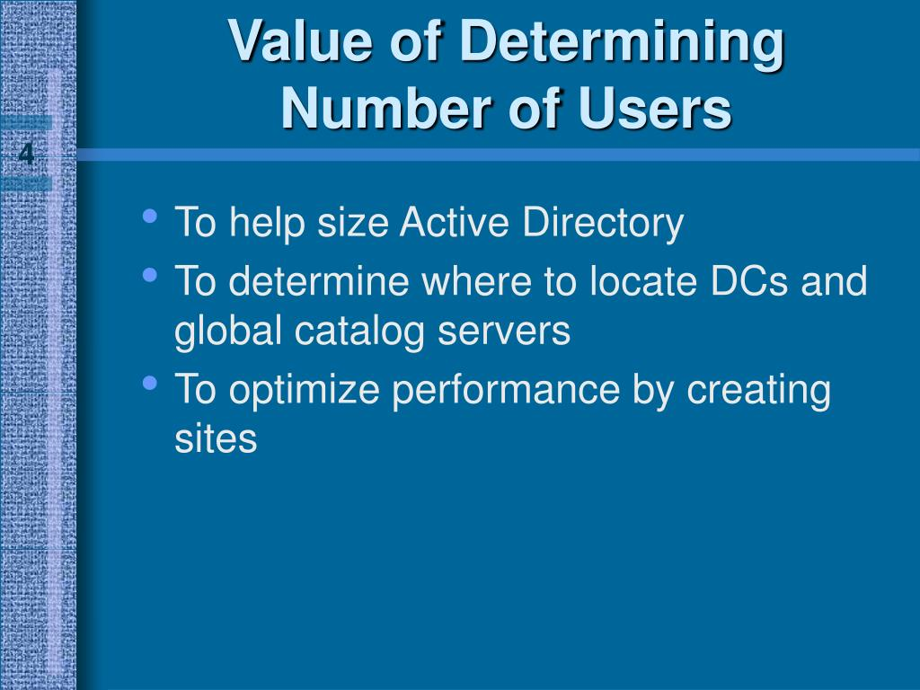 Value of Determining Number of Users