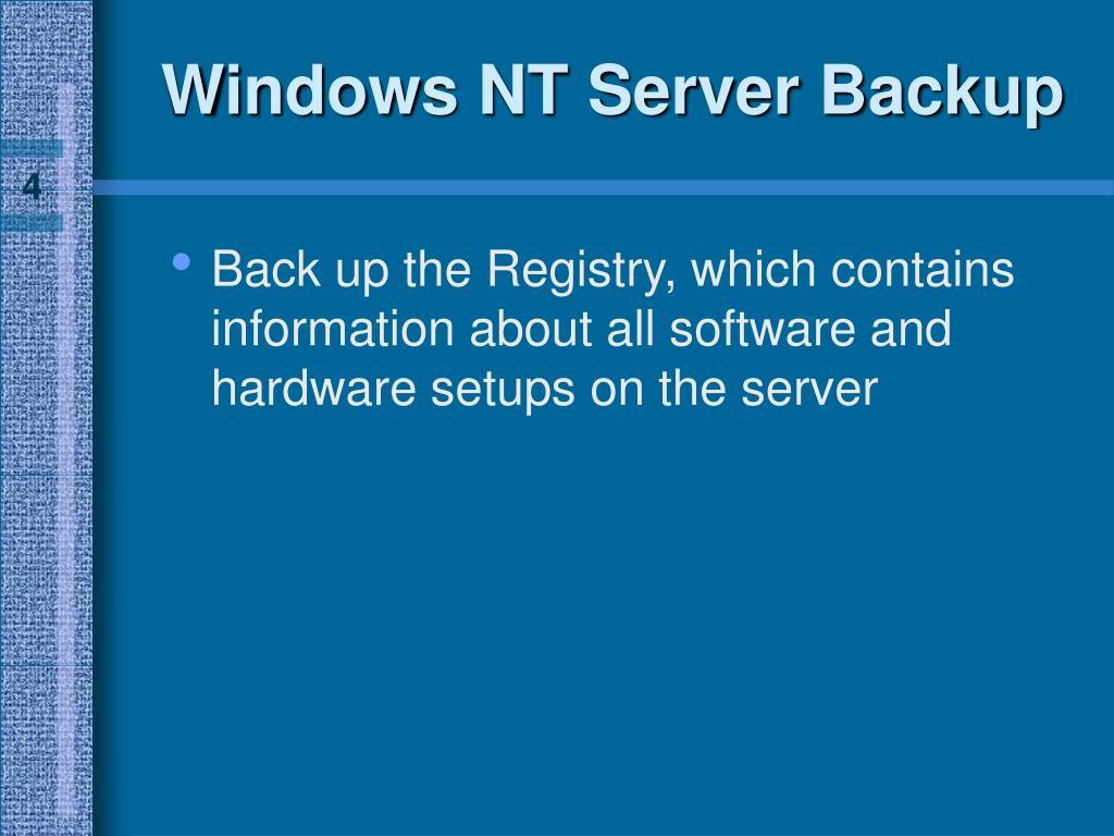 Windows NT Server Backup