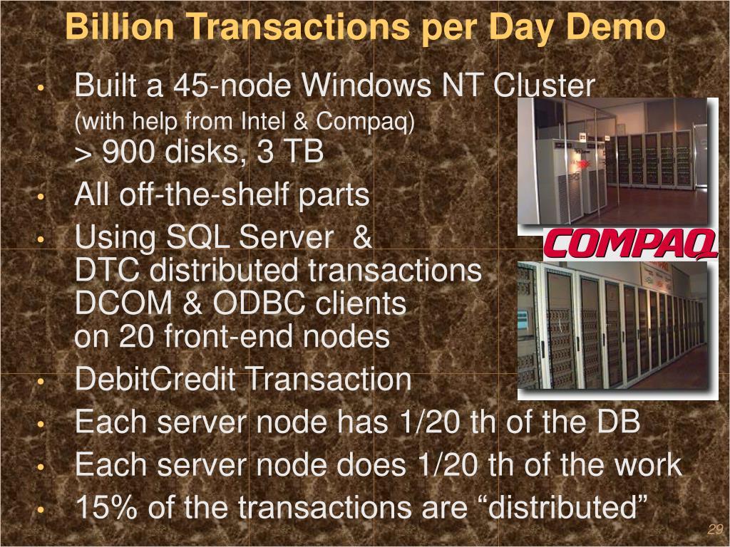 Billion Transactions per Day Demo