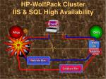 hp wolfpack cluster iis sql high availability