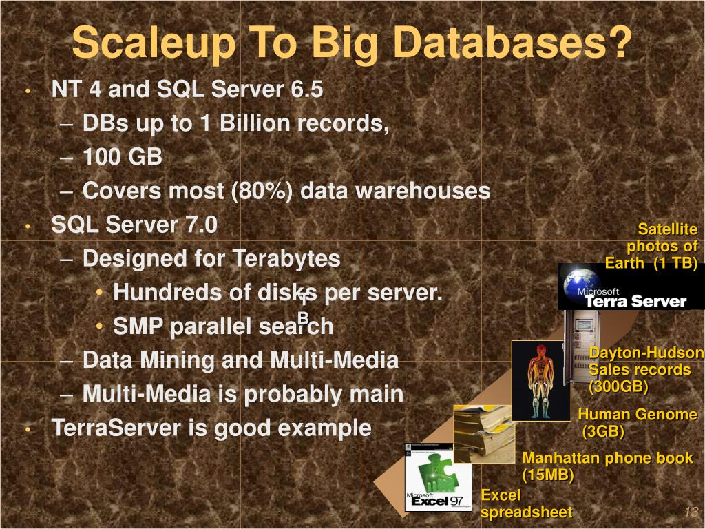 Scaleup To Big Databases?