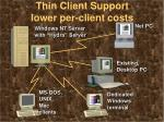 thin client support lower per client costs