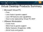 virtual desktop products summary