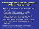 burden of age related macular degeneration amd and visual impairment