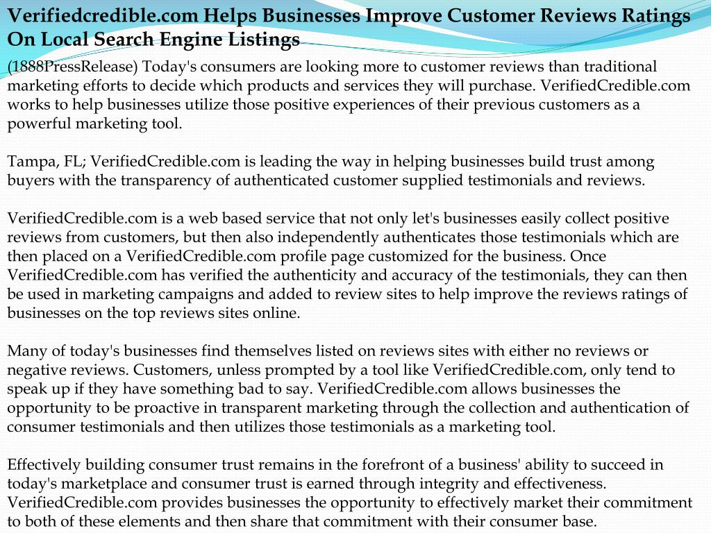 Verifiedcredible.com Helps Businesses Improve Customer Reviews Ratings On Local Search Engine Listings