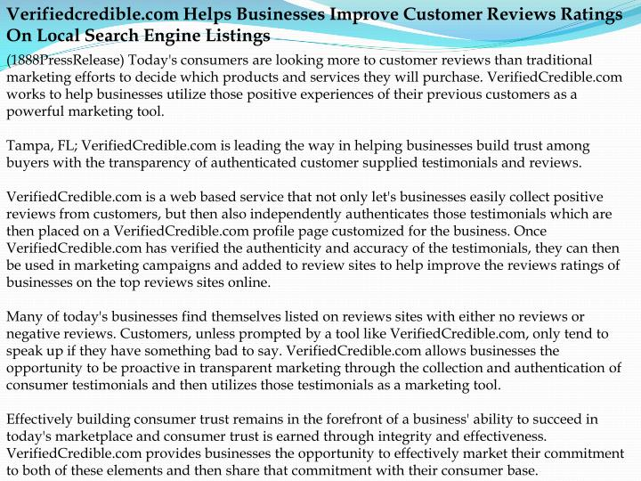 Verifiedcredible.com Helps Businesses Improve Customer Reviews Ratings On Local Search Engine Listin...