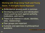 working with drug using youth and young adults a strengths based approach