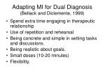 adapting mi for dual diagnosis bellack and diclemente 1999