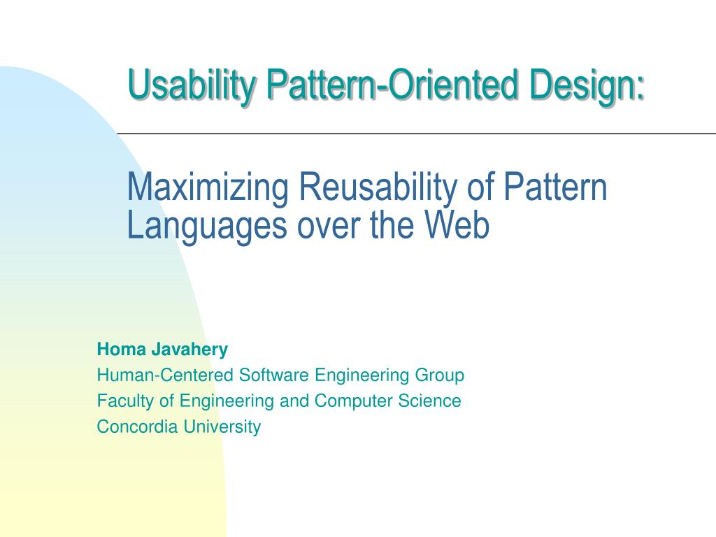 usability pattern oriented design maximizing reusability of pattern languages over the web l.