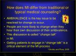 how does mi differ from traditional or typical medical counseling8