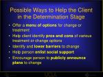 possible ways to help the client in the determination stage