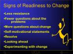 signs of readiness to change