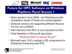 future for hpc software on windows platform panel session i
