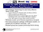future for hpc software on windows platform panel session ii
