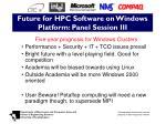 future for hpc software on windows platform panel session iii