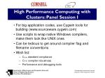 high performance computing with clusters panel session i