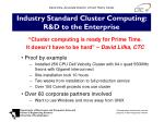 industry standard cluster computing r d to the enterprise