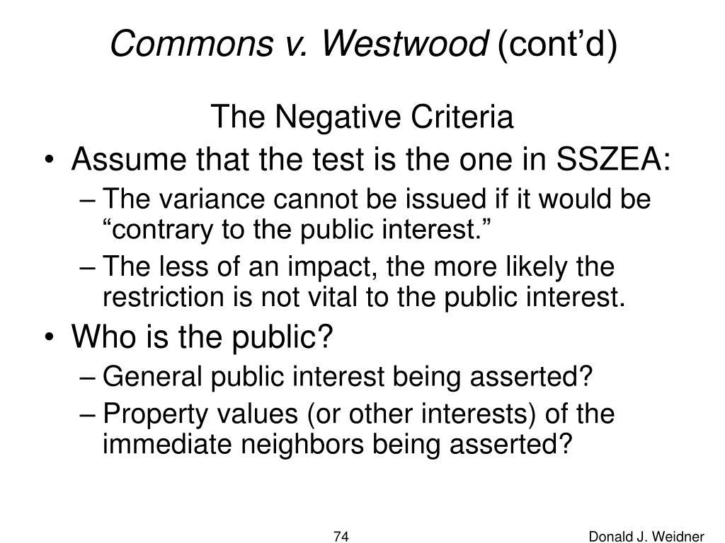 Commons v. Westwood