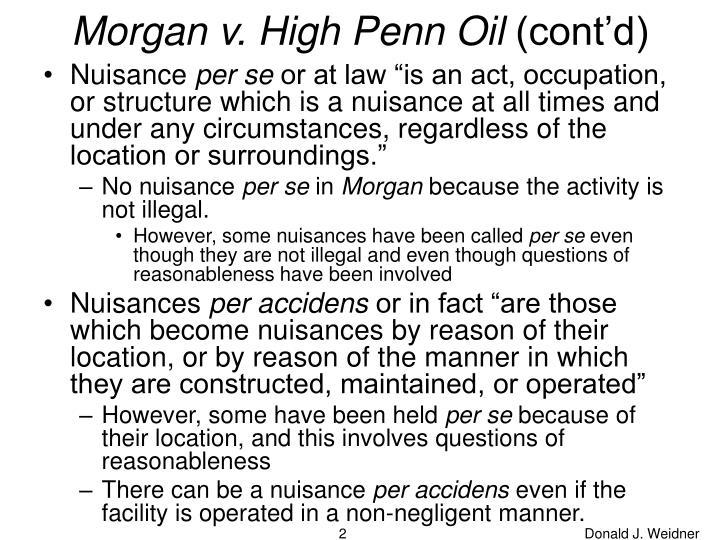 Morgan v high penn oil cont d