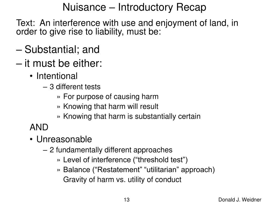 Nuisance – Introductory Recap