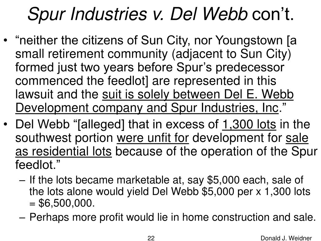 Spur Industries v. Del Webb