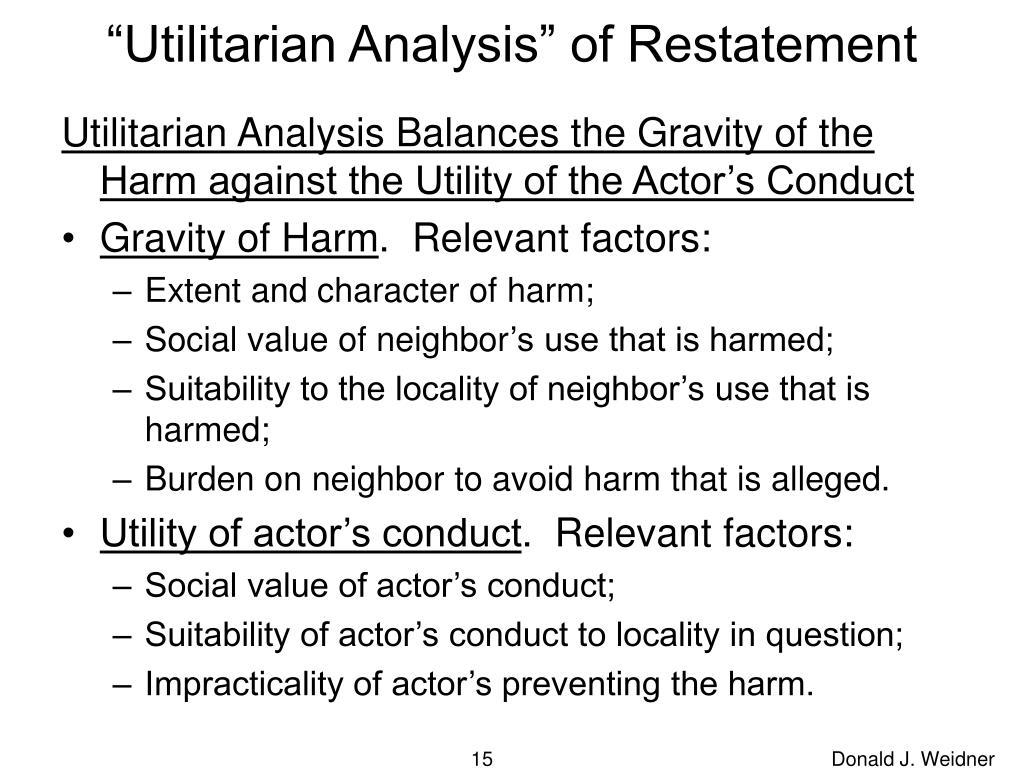"""Utilitarian Analysis"" of Restatement"