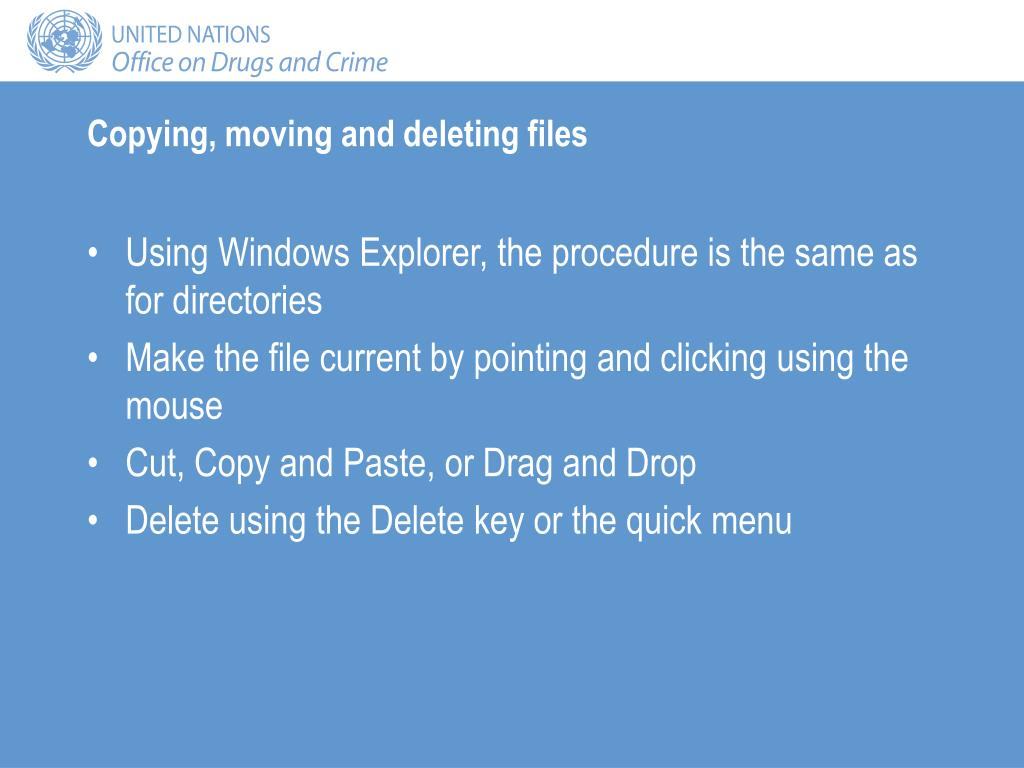 Copying, moving and deleting files