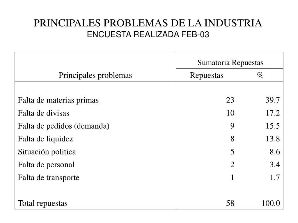 PRINCIPALES PROBLEMAS DE LA INDUSTRIA