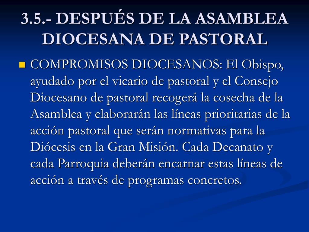 3.5.- DESPUÉS DE LA ASAMBLEA DIOCESANA DE PASTORAL