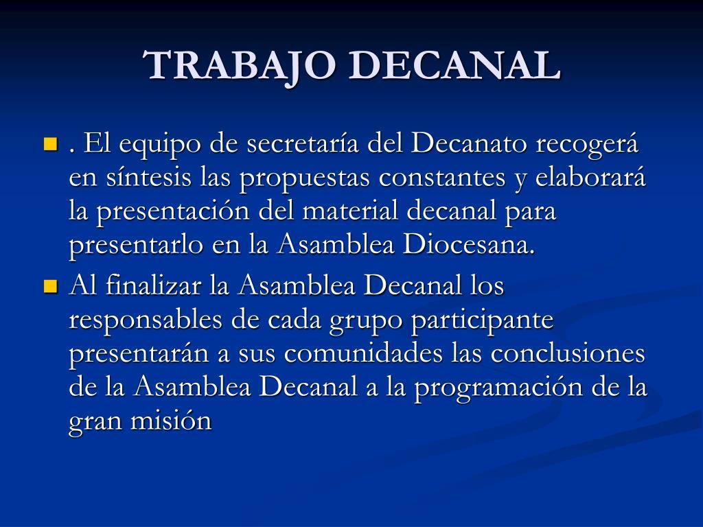 TRABAJO DECANAL