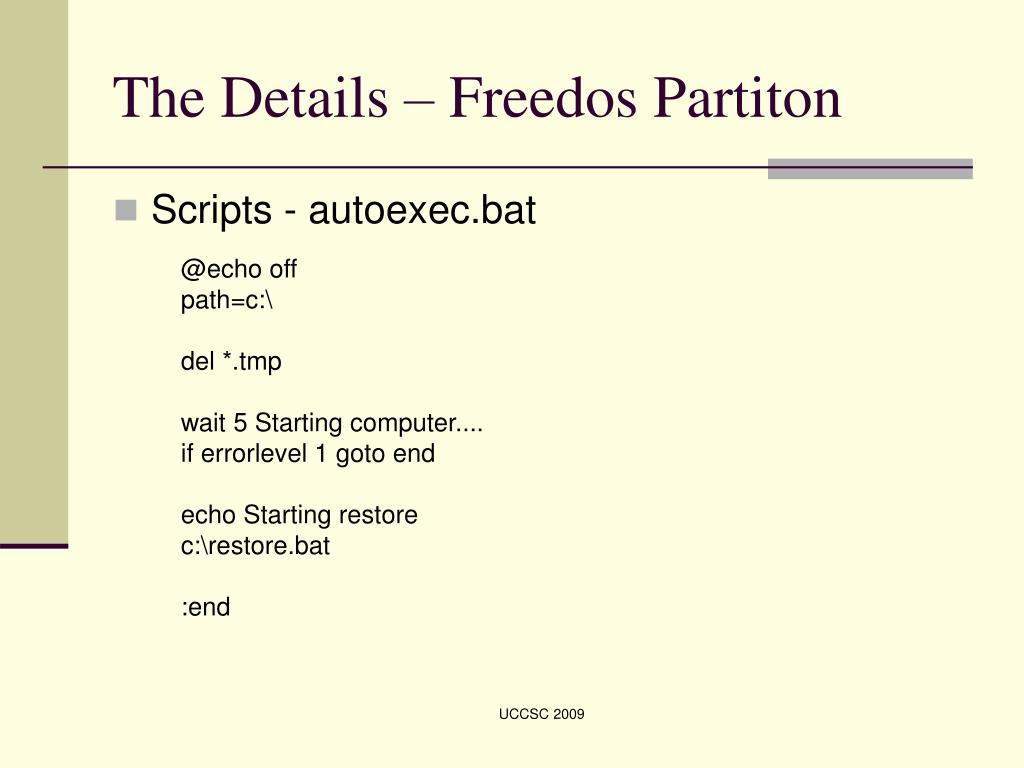 The Details – Freedos Partiton