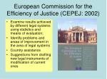 european commission for the efficiency of justice cepej 2002